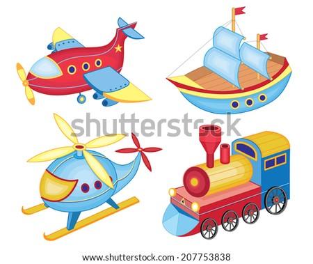 set of transport toys (vector illustration) - stock vector