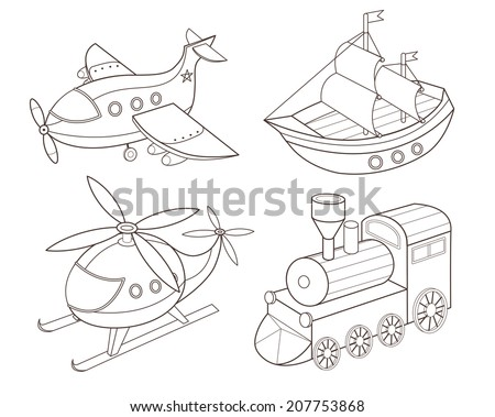 set of transport toys (vector illustration) - stock vector