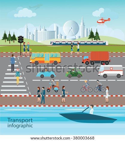 Set of transportation and city traffic info graphics elements, cartoon flat design logistic Vector illustration.