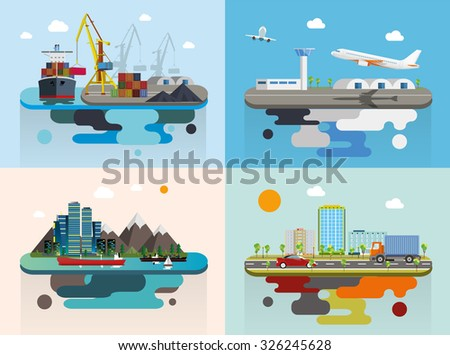 Set of transportation concept flat vector illustration flying island - stock vector
