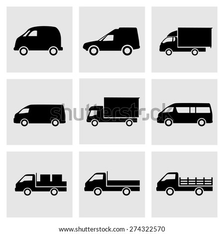 Set of transportation dekivery icons. Cars, trucks, delivery, logistic, transport vector icons, silhouette, black. - stock vector