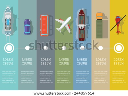 Set of transportation flat icons. Vector illustration. - stock vector
