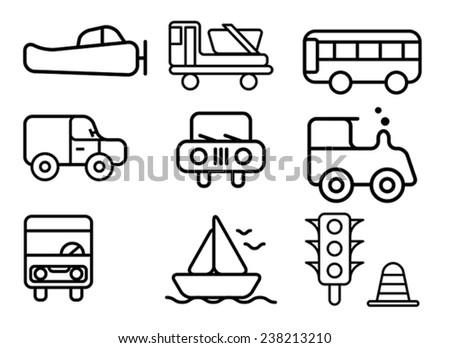 set of transportation icon, vector - stock vector