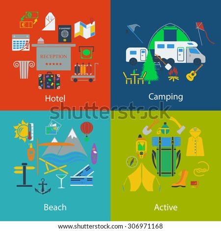 Set of Travel, camping and active designs.  - stock vector