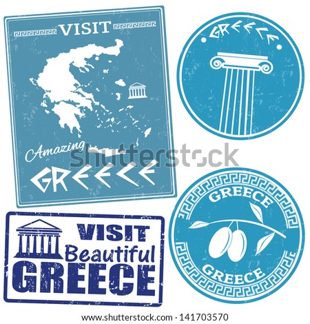 Set of travel grunge stamps with Greece country, vector illustration - stock vector