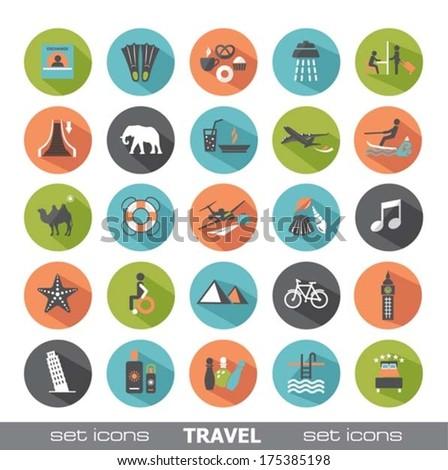 Set of travel icons. Modern flat design elements. - stock vector