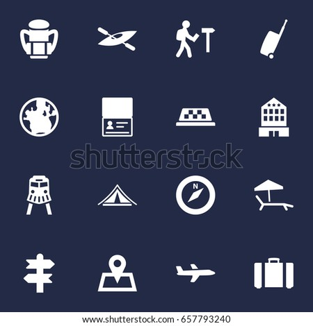 Set Of 16 Travel Icons Set.Collection Of Canoe, Cab, Rucksack And Other Elements.
