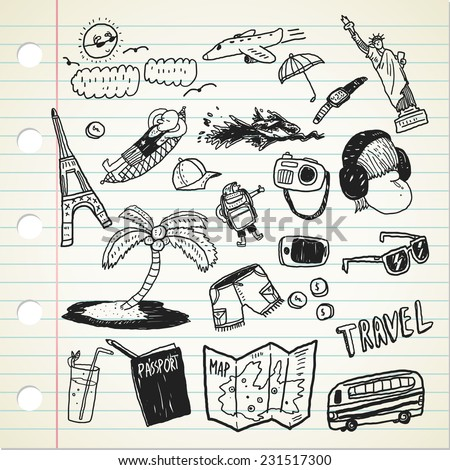 set of travel illustration in doodle style - stock vector
