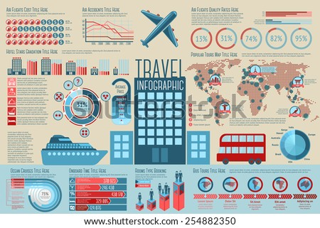 Set of Travel Infographic elements with icons, different charts, rates etc. Vector - stock vector