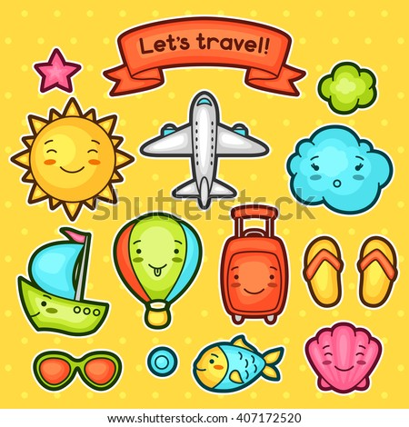 Set of travel kawaii doodles with different facial expressions. Summer collection cheerful cartoon characters sun, airplane, ship, balloon, suitcase and decorative objects. - stock vector