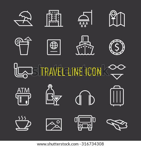 set of travel line icon isolated on black background - stock vector