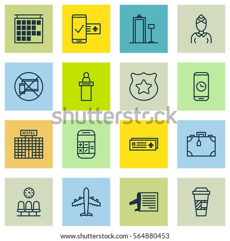 Set 16 Traveling Icons Includes Hostess Stock Vector 2018