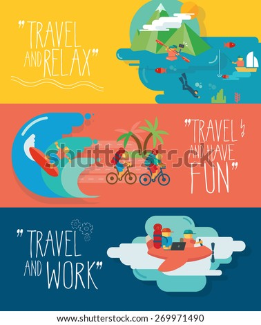 Set of traveling vector illustrations. Different types of travel. Fishing, diving, surfing, fly.