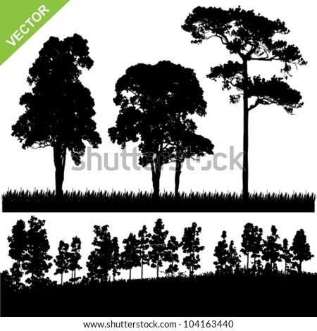 Set of Tree and forest silhouette vector