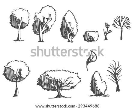 Set of tree doodles - stock vector