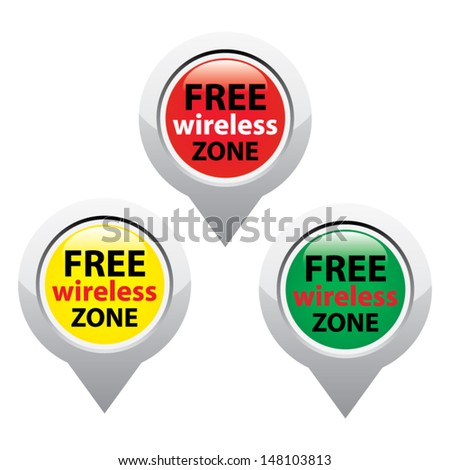 Set of tree free wireless zone icons for business or commercial use.