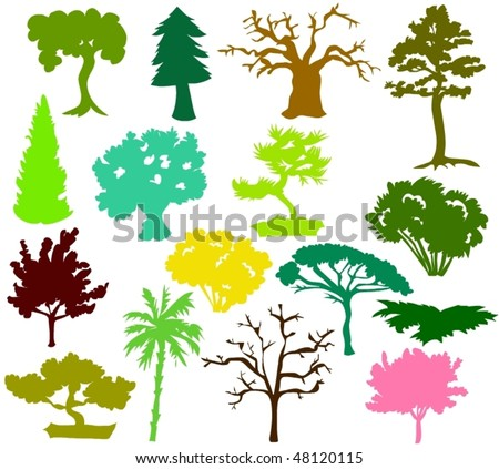 Set of tree icons  - silhouettes - stock vector