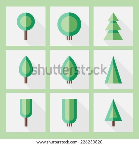 Set of tree icons. Vector.  - stock vector