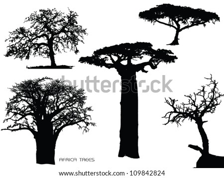 set of tree silhouettes - stock vector