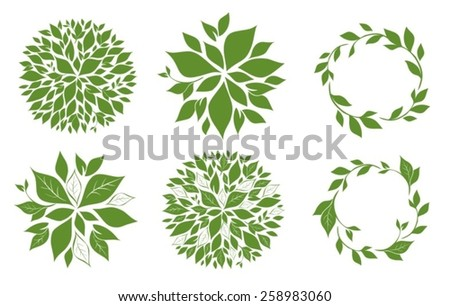 set of tree top view and frames for you design. Vector illustration - stock vector