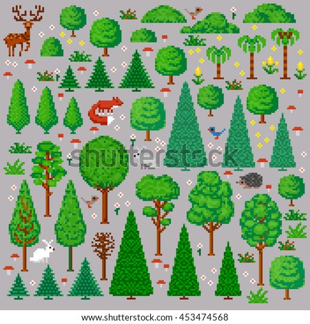 Set of Trees and animals. Vector illustration in the style of old-school pixel art. - stock vector