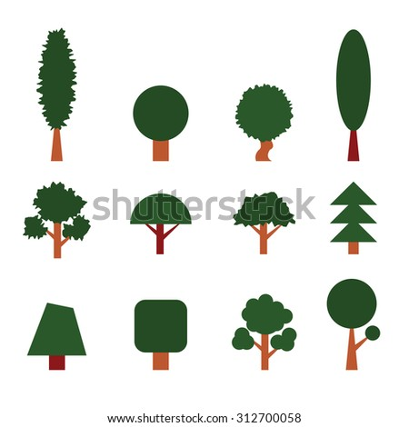 Set of Trees. Collection of Design Elements. Icons Set. Vector - stock vector