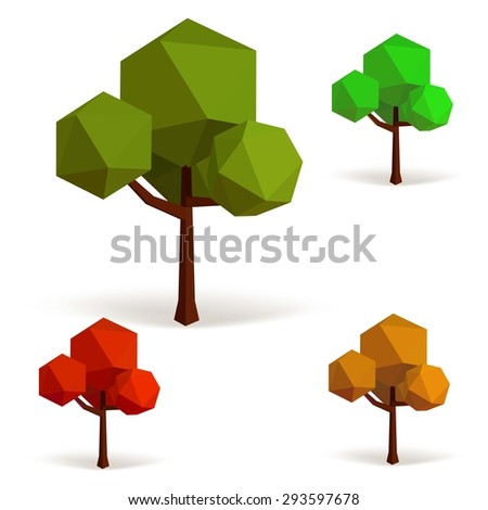 Set of trees in low poly style. Vector illustration - stock vector