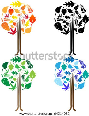 Set of trees in season colors - stock vector