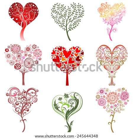 Set of trees in the form of heart, vector image. - stock vector