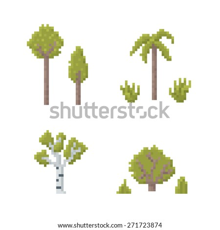 Set of Trees Isolated on White - Old School Pixel Art Illustration - stock vector
