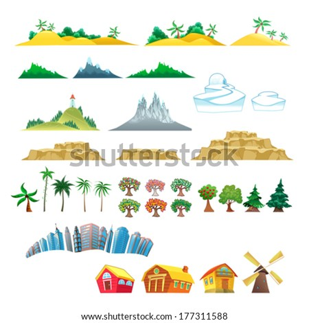 Set of trees, mountains, hills, islands and buildings. Isolated vector objects - stock vector