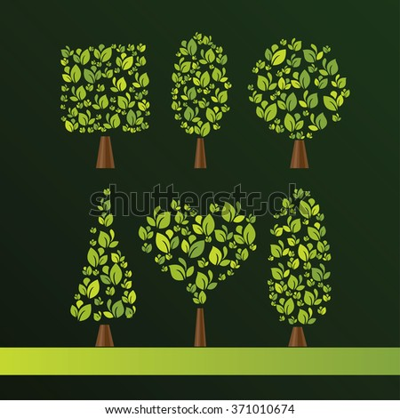 Set of trees of various shapes. Oval, cube, sphere, cone, heart. Modern style of decorative painting. It can be used in web design or corporate identity - stock vector