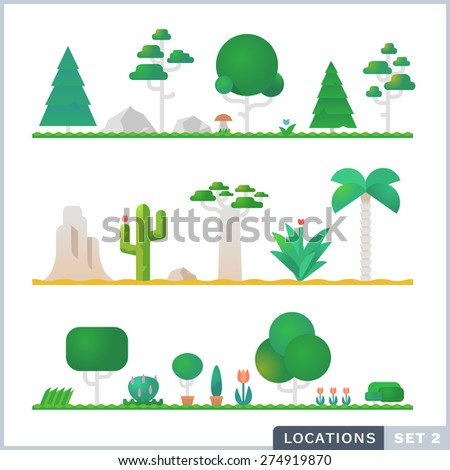 Set of trees, rocks, bushes and grass. Vector flat illustrations - stock vector