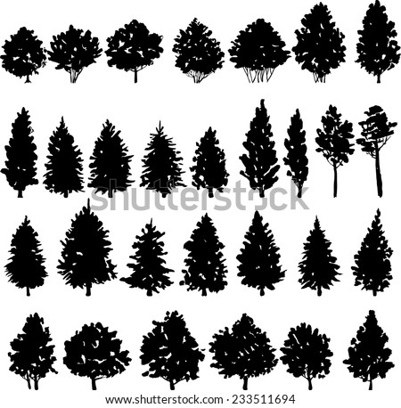 set of trees silhouettes, hand drawn vector illustration - stock vector