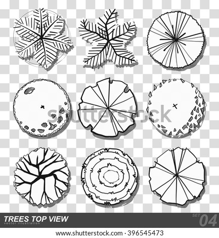 Set Of Trees Top View For Landscape Design Vector Illustration