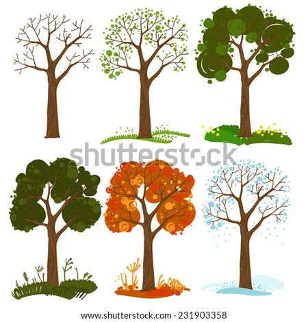 Set of trees vector. Collection of different trees cartoon. Seasonal changes in the trees - stock vector