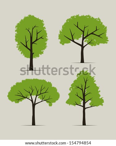 Set of trees - Vector illustration - stock vector