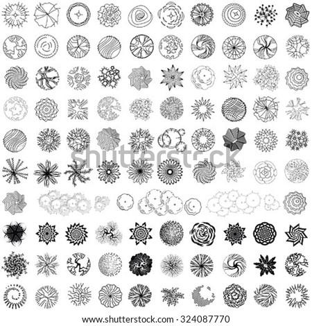 Set of treetop symbols for architectural or landscape design - stock vector
