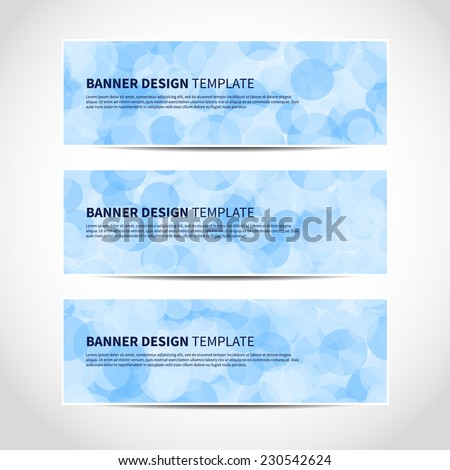Set of trendy blue vector banners template or website headers with abstract geometric bokeh background. Vector design illustration EPS10 - stock vector