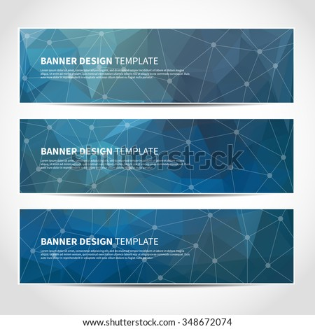 Set of trendy blue vector banners template or website headers with abstract geometric triangular background. Vector design illustration EPS10 - stock vector