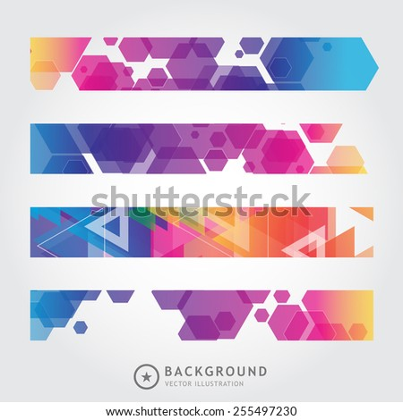 Set of trendy bright colorful vector banners template or website headers with abstract geometric background. Vector design illustration EPS10 - stock vector