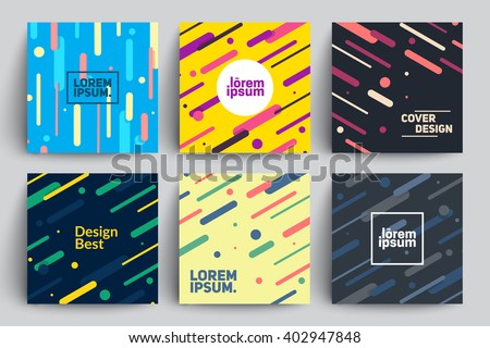 Set of Trendy Cards with Flat Dynamic Design. Applicable for Covers, Placards, Posters, Flyers and Banner Designs. - stock vector