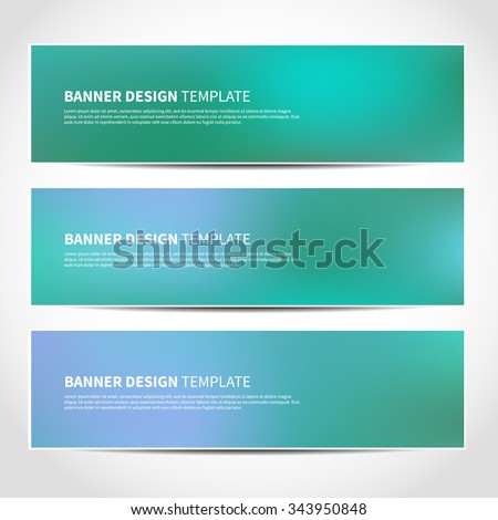 Set of trendy Christmas blue and green vector banners template or website headers with abstract mesh background. Vector design illustration EPS10 - stock vector