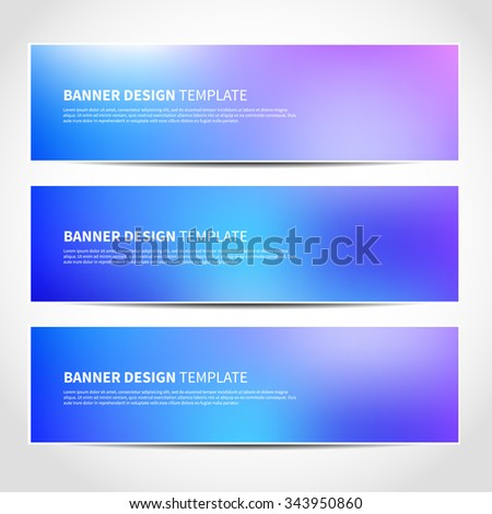 Set of trendy Christmas blue and purple vector banners template or website headers with abstract mesh background. Vector design illustration EPS10 - stock vector
