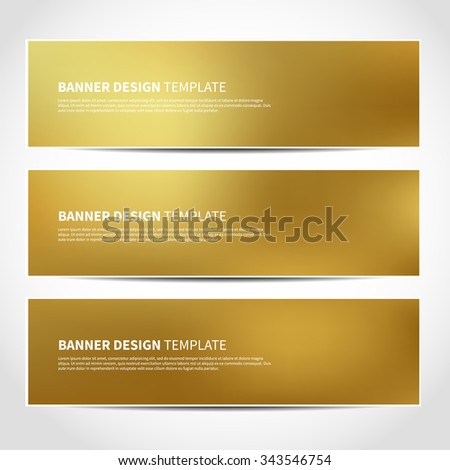 Set of trendy Christmas gold vector banners template or website headers with abstract geometric background. Vector design illustration EPS10 - stock vector