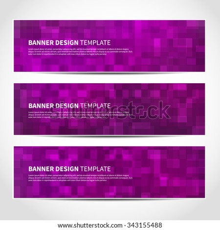 Set of trendy Christmas purple vector banners template or website headers with abstract geometric background. Vector design illustration EPS10 - stock vector