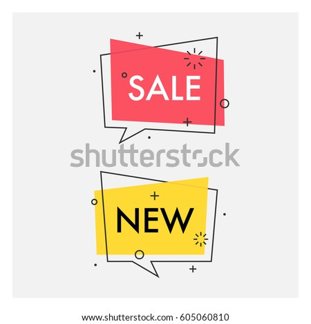 Set of trendy flat geometric vector bubbles. Vivid transparent banners in retro poster design style. Vintage colors and shapes. Red and yellow colors.