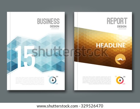 Set of trendy geometric triangular and other design style brochure cover template mockups, annual reports for business visual identity - stock vector