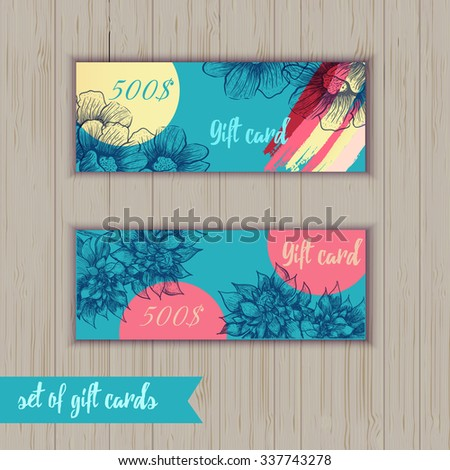 Set of trendy gift card templates with flowers and colorful brush strokes for your design - stock vector