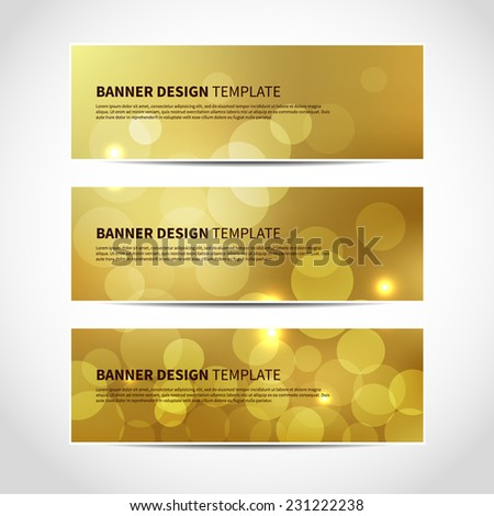 Set of trendy gold vector banners template or website headers with abstract geometric bokeh Christmas background. Vector design illustration EPS10 - stock vector